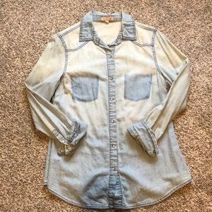 GB chambray button- up top